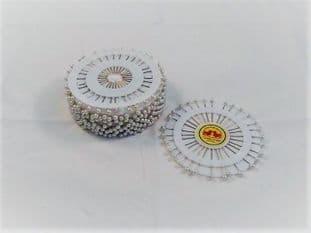0  B00914 Florist/Hat Pins: Nickel - Pearl - 30pins x 12