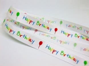 0 SR1215 16mm Happy Birthday Satin Ribbon - 20m