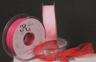 00SR1209 15mm Sheer Organza Ribbon - 25m - Full Colour Range
