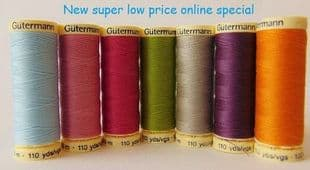 01  100m 2T100 Gutermann Sew-All Thread colours 1- 99  Black White
