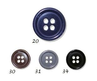 0G2646 Jacket Button 4-Hole - Choice of Size & Colours