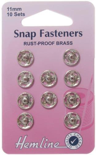 0H420.11 Sew On Snap Fasteners: Nickel - 11mm