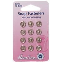 0H420.9 Sew On Snap Fasteners: Nickel - 9mm
