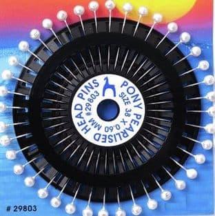 0A00012W Colour Headed Pin wheel - White - 40pcs x 10