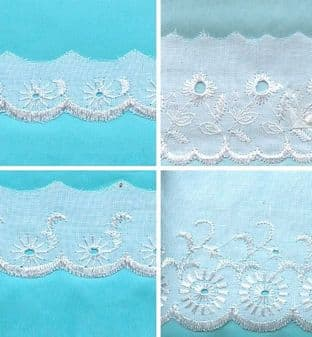 0B001 Flat Broderie Anglais Trimming - 54.8m - Range of Widths - White or Cream