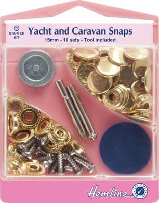 3 H409.GD Yacht and Caravan Snaps Starter Sets - Gold