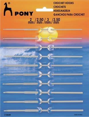 45630 Aluminium Crochet Hooks: 10 Asstd Sizes: 2.00 - 3.50mm