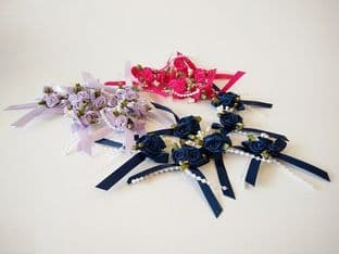 534-13P Rose Trio on Bow with Beads and Green Leaves - Full Colour Range
