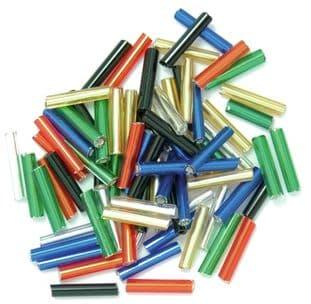 CF01\10 Long Bugle Beads: 9mm: 5 Packs of 15g - Full Colour Range