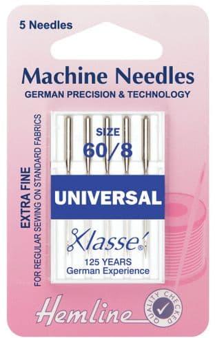 H100.60 Universal Machine Needles: Extra Fine - Size 60/8