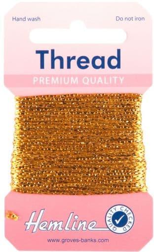 H1002\12 Glitter Thread: 10m - Dark Gold
