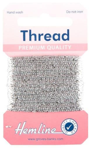 H1002\13 Glitter Thread: 10m - Silver