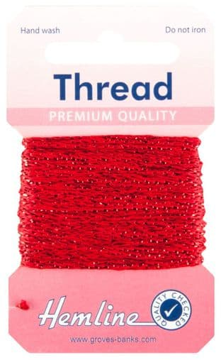 H1002\14 Glitter Thread: 10m - Red