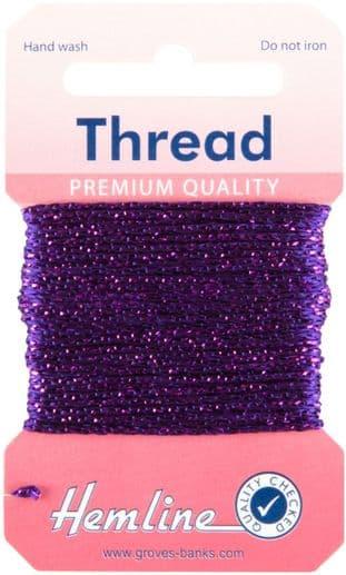 H1002\24 Glitter Thread: 10m - Purple