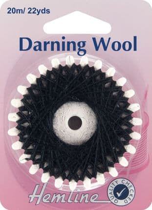 H1003.BK Darning Wool: 20m - Black