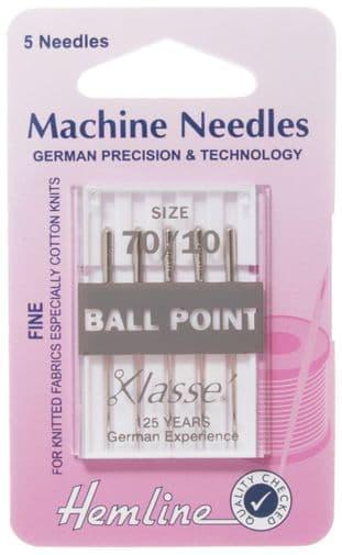 H101.70 Ball Point Machine Needles: Fine 70/10