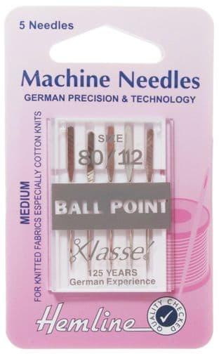 H101.80 Ball Point Machine Needles: Medium 80/12
