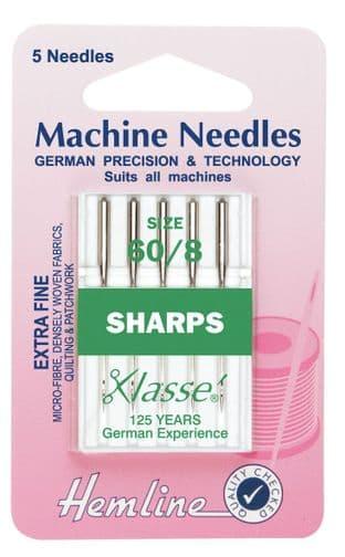 H105.60 Sharp/Micro Machine Needles: Extra Fine 60/8