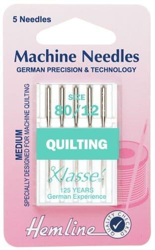 H106.80 Quilting Machine Needles: Medium 80/12