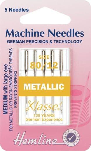 H109.80 Metalfil Machine Needles: 80/12
