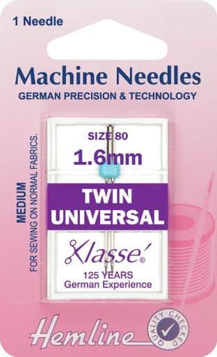 H110.16 Twin Universal Machine Needles: 80/12 - 1.6mm