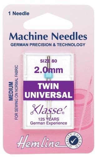 H110.20 Twin Universal Machine Needles: 80/12 - 2.0mm