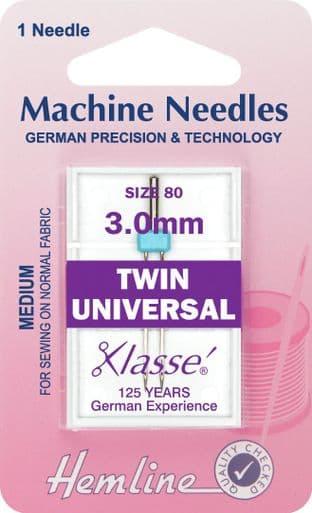 H110.30 Twin Universal Machine Needles: 80/12 - 3mm