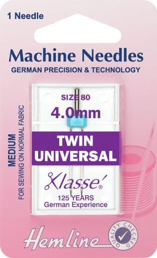 H110.40 Twin Universal Machine Needles: 80/12 - 4mm