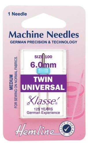 H110.60 Twin Universal Machine Needles: 100/16 - 6mm