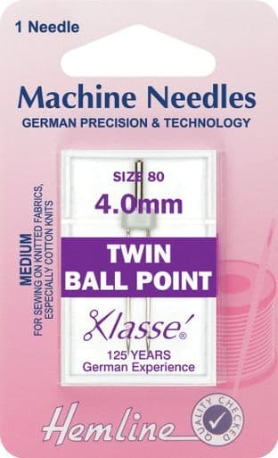 H111.40 Twin Ball Point Machine Needles: 80/12 - 4mm