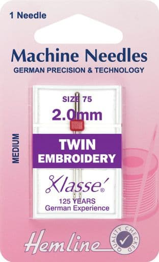 H114.20 Twin Embroidery Machine Needles: 75/11 - 2.0mm