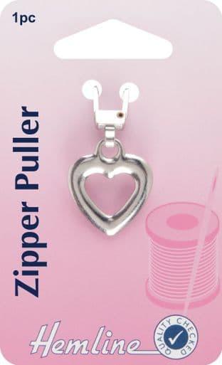 H164.03 Zipper Puller: Heart - Silver