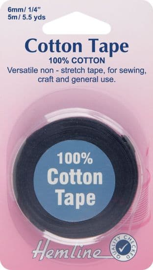 H541.6 Cotton Tape: Black - 5m x 6mm
