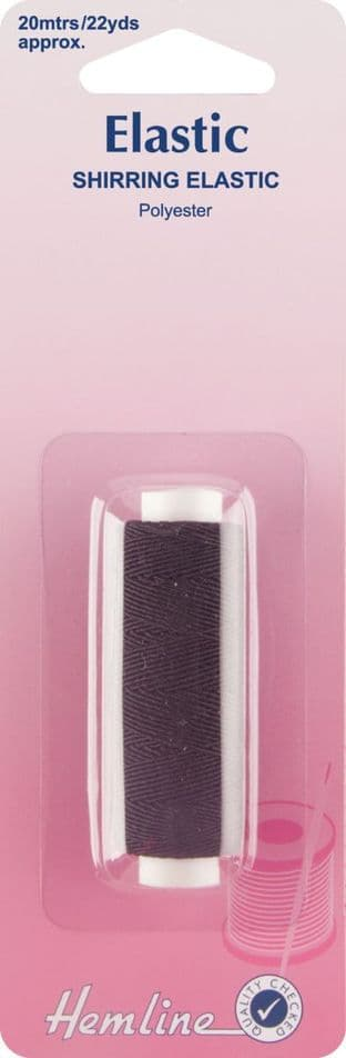 H601 Shirring Elastic: Black - 20m x 0.75mm