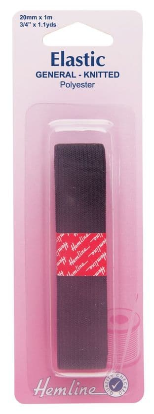 H621.20 General Purpose Knitted Elastic: Black - 1m x 20mm