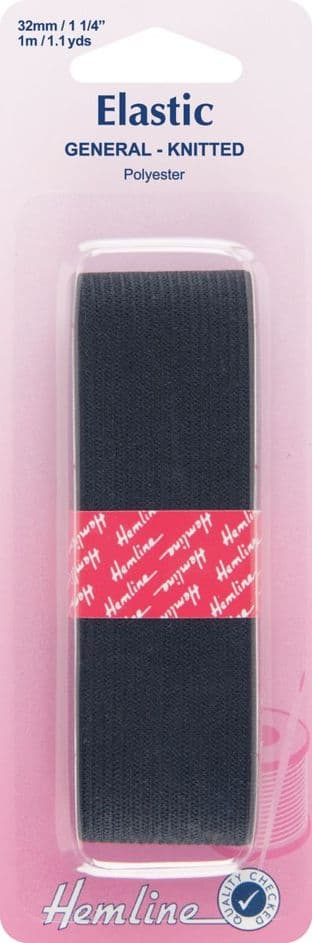 H621.32 General Purpose Knitted Elastic: Black - 1m x 32mm