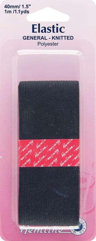 H621.40 General Purpose Knitted Elastic: Black - 1m x 40mm