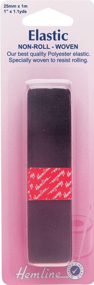 H631.25 Woven Non-Roll Elastic: Black - 1m x 25mm