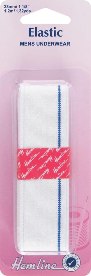 H640 Mens Underwear Elastic: White - 1.2m x 28mm