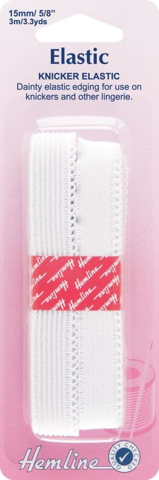 H680.15 Knicker Elastic: White - 3m x 15mm
