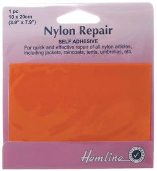 H689.ORANGE Self Adhesive Nylon Repair Patch: Orange - 10 x 20cm