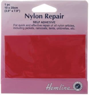 H689.RED Self Adhesive Nylon Repair Patch: Red - 10 x 20cm