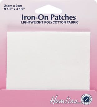 H691.W Polycotton Patch: White - 24 x 9cm - 1pc