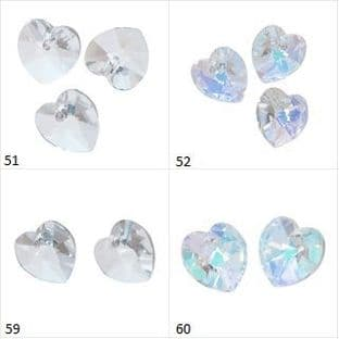 Heart Beads: Crystal: 3 Packs - Choice of Size and Finish