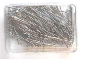 A00059  Mild Steel Dressmakers Pins: 26 x 0.65mm - Nickel - 20pk