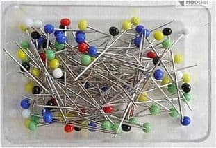 A00060 Colour Headed Stainless Steel Dressmakers Pins: 32 x 0.59mm