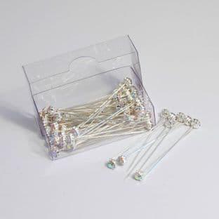 B1721IR Corsage Pins: Diamante: 4mm: Pack of 72: Iridescent