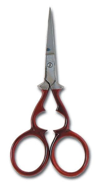 B5408 Scissors: Embroidery: Victorian: 10cm/4in: Red