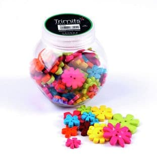 BP004 Jar of Craft Buttons: Flowers: Pack of 3