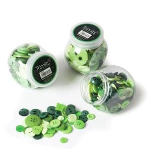 BP010 Jar of Craft Buttons: Assorted Green: Pack of 3